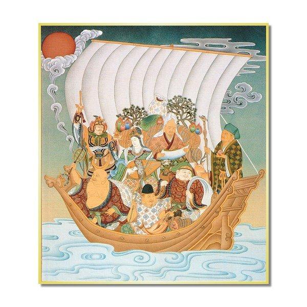 画像1: 仏画色紙 七福神 (1)
